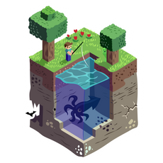 Minecraft World Cube Sticker