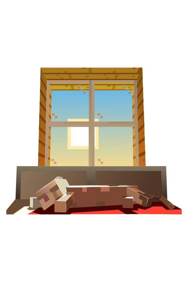 Minecraft Cat Sunbathes Sticker