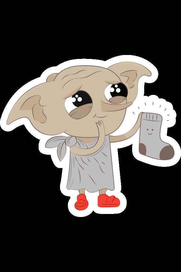 Harry Potter Сute Dobby with Sock Sticker