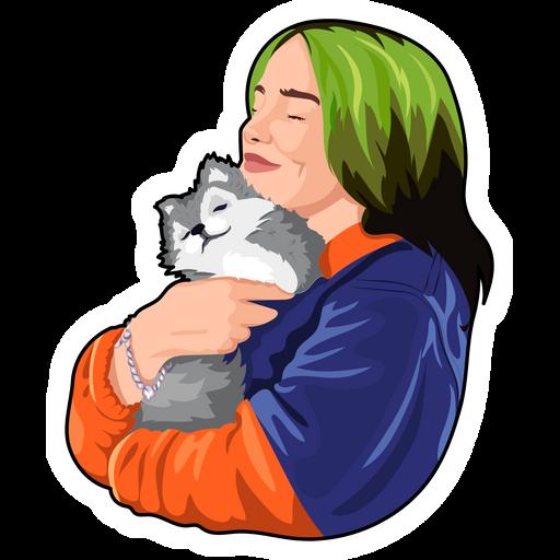 Billie Eilish and Cute Baby Wolf Sticker