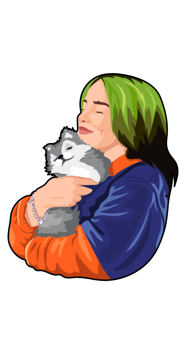 Billie Eilish and Cute Baby Wolf Sticker