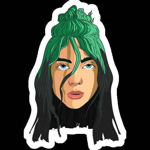 Billie Eilish Green Hair Sticker