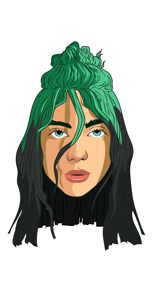 Billie Eilish Green Hair Sticker