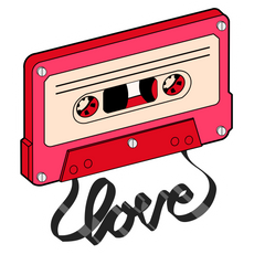Cassette Tape Love Sticker