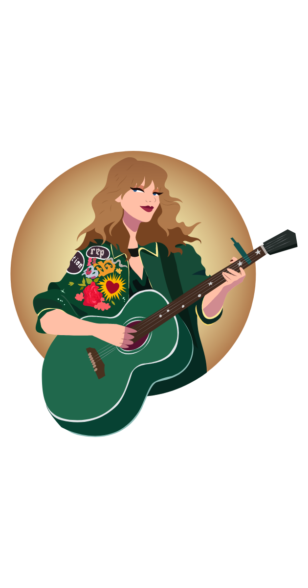 Taylor Swift with Green Guitar Sticker