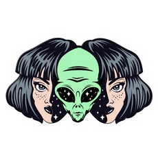 Alien Inside Human Girl Sticker