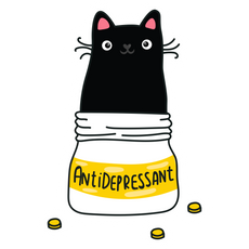 Antidepressant Cat Sticker