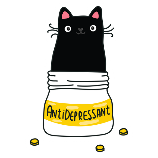 Antidepressant Cat Sticker
