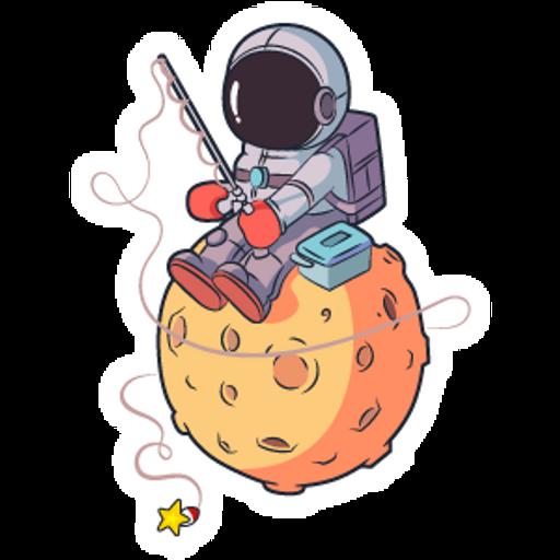 Astronaut Fishing Stars Sticker