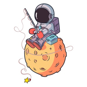 Astronaut Fishing Stars Sticker