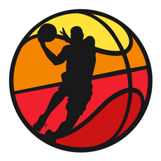 Basketball with a Player Silhouette Sticker