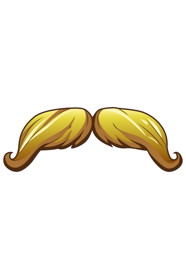 Blonde Handlebar Mustache Sticker
