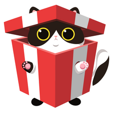 Holiday Cat in Gift Box Sticker