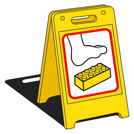 Caution Sign Lego on the Floor Sticker