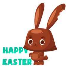 Chocolate Bunny Happy Easter Sticker