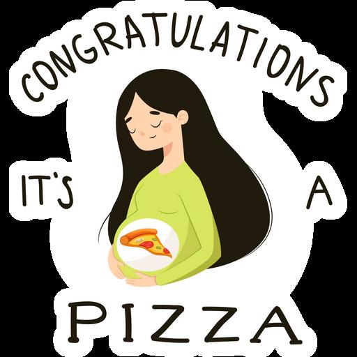 Congratulations It's a Pizza Sticker
