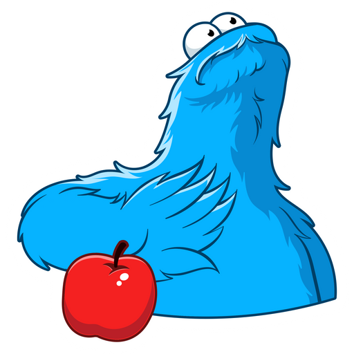 Sesame Street Cookie Monster and Apple Sticker