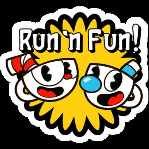Cuphead and Mugman Run n Fun Sticker