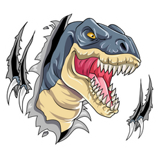 Dinosaur T-Rex Breaks Through the Screen Sticker