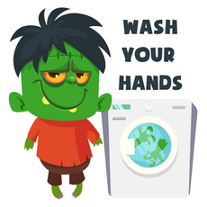 Frankenstein Wash Your Hands Sticker