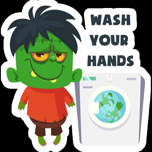 Frankenstein Wash Your Hands Sticker