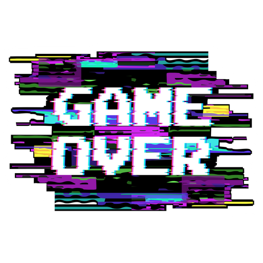 Game Over Glitch Effect Sticker