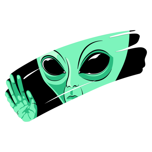 Green Alien Behind the Glass Sticker
