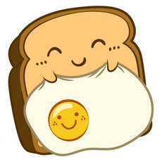 Kawaii Sleeping Toast with Egg Sticker