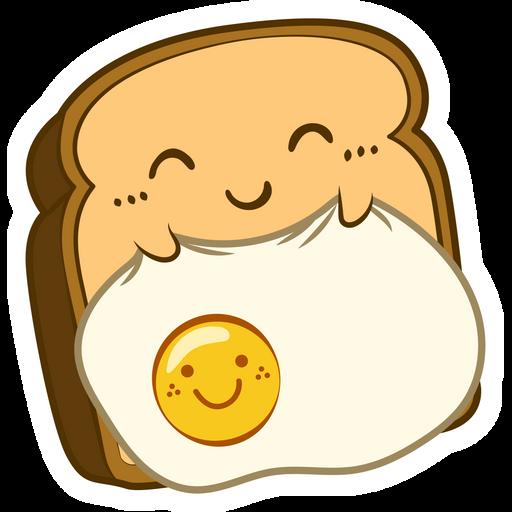 Kawaii Sleeping Toast with Egg Sticker