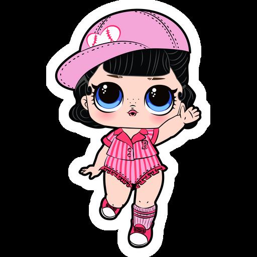 LOL Doll Baseball Cheerleader Sticker
