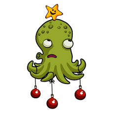 Octopus Christmas Tree Sticker