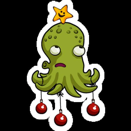 Octopus Christmas Tree Sticker