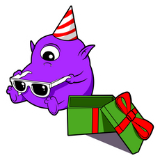 One-Eyed Monster Birthday Sticker
