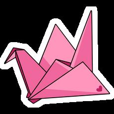Origami Pink Paper Crane Sticker