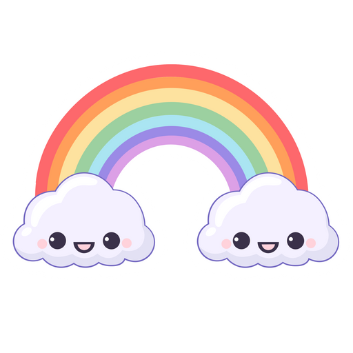 Rainbow and Cute Smiling Clouds Sticker