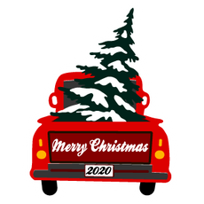Red Christmas Truck Sticker