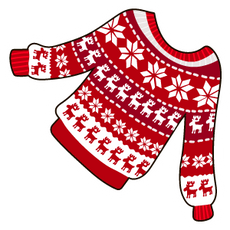 Red Snowflake Raindeer Christmas Jumper Sticker