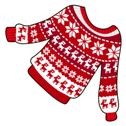 Red Snowflake Raindeer Christmas Jumper Sticker