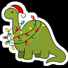 Roarsome Christmas Dinosaur Sticker