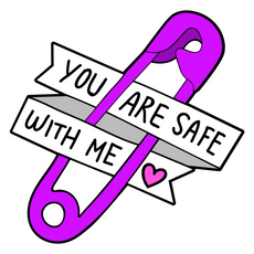 Safety Pin You are Safe with Me Sticker