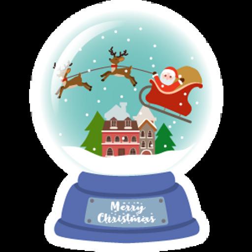Snow Globe Santa Claus Sticker