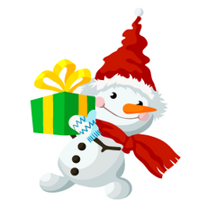 Snowman with a Gift Sticker