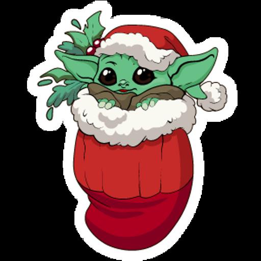 Star Wars Christmas Baby Yoda Sticker