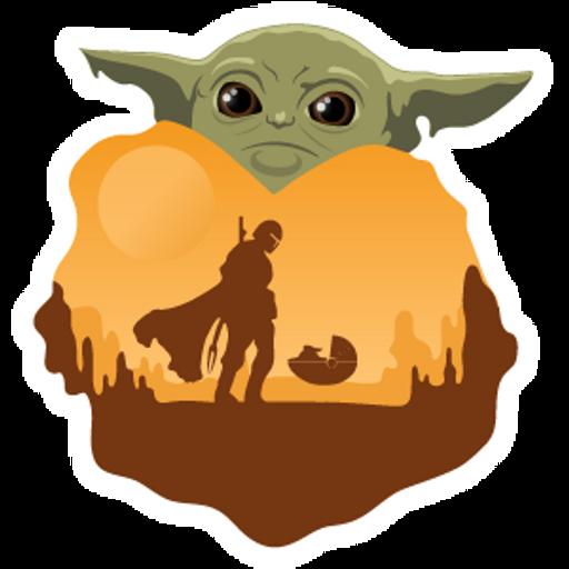 Star Wars Mandalorian and Baby Yoda Sticker