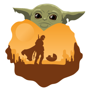 Star Wars Mandalorian and Baby Yoda Sticker