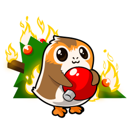 Star Wars Porg and Christmas Tree Sticker