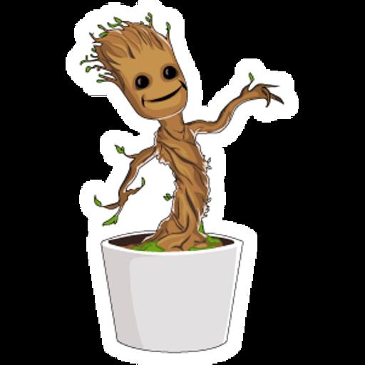 Baby Groot Plant Pot Sticker