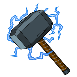 Thor Mjolnir Hammer with Lightning Bolts Sticker