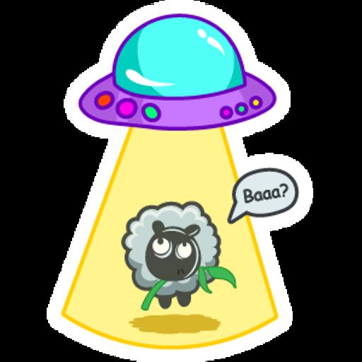 Sheep and UFO Sticker