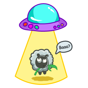 Sheep and UFO Sticker